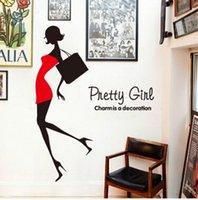 bar furniture designs - 10 pices Household furniture decorates wallsticker adhesive creative wallpaper red girl cabinets corridor glass shop fashion bar