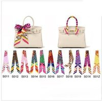 Wholesale stripe many colors fashion twilly scarf handbag handle decoration accessories handbag twilly brand bow hair bands scarves