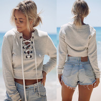Wholesale Autumn chic lace up sweatshirt Women tops v neck ladies sweatshirt warm hoodies Gray crop top long sleeve girls