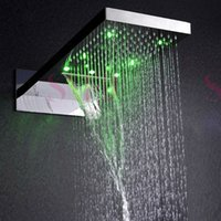 bathroom showerheads - Wall Mounted Stainless steel bathroom rain shower head led showerheads polished face finishing overhead showers