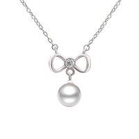 Solid Silver Chain Bowknot Collier avec perle, Petite Jewelry Collier en argent à gros- PS03908