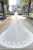 Wholesale Real Image One Layer Meters Long Wedding Veils With Appliqued Edge Cheap Tulle Cathedral Bridal Veil With Comb For Bridal