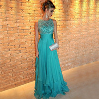 Wholesale Luxury Blue Beading Evening Dresses With Crystal Jewel Tiered Chiffon Floor Length Formal Prom Party Gowns