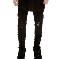 american baggy jeans - Men Black Hole Baggy Jeans Jogger Black Skinny Jeans Denim Biker Straight American Jeans dsq Moto Pants Mens Overalls