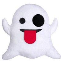 Wholesale Little Ghost Cushion Cute Lovely Emoji Smiley Pillows Cartoon Cushion Pillows Stuffed Plush Toys Via FedEx Ship