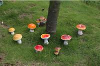 Wholesale 9 in a set artificial colorful mushroom fairy garden gnome moss terrarium decor resin crafts bonsai home decor christmas ornaments