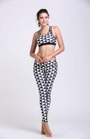 argyle pants - Yoga Sets Sexy Women Yoga Clothes D Printing Black with white Argyle Yoga Leggings Breathable Workout Sportswear