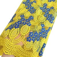 Wholesale High Quality Nigerian Wedding African Lace Fabric Yellow Guipure Cord Lace Fabric For Wedding Party Blue Cord Lace Net Lace