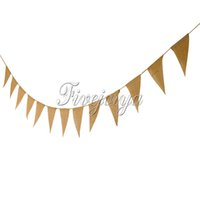 Wholesale New M Long Vintage Bunting Burlap Banner with Flags Wedding Birthday Party Banners Decoration