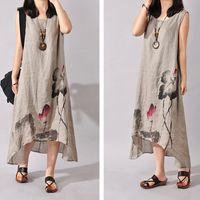 art print dress - Hot Cotton Linen Art Style Sleeveless O ncek Women Loose White Long Dress For Female Maxi Sundress Summer Women s Dresses