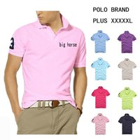 big polos - POLYESTER Big Horse Logo Mens Polo T Shirts Slim Breathable Tops Lapel Short sleeved Shirts Short Sleeve Shirts Business Casual T Shirts
