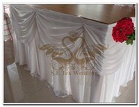 Wholesale Nice Looking White Color Ice Silk Table Skirt Wedding Table Skirting Size Can Choose