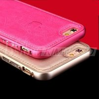 apple aircraft - New Luxury Aircraft Aluminum Metal Frame Leather Phone Case Cover for iphone5 s iPhone iPhone6 Plus