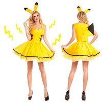 Wholesale Pikachu Catwoman Halloween Costume Cosplay Party Dress Night Club Bar Sex Hood Fantasy Poke Game Uniforms Fancy Dress Outfit