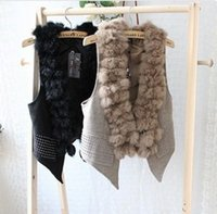 Wholesale Luxurious winter women lady real fur rabbit fur vest with Hot drilling for party