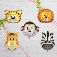 balloon animals monkey - Mixed Mini size Cartoon monkey Lion Tiger Giraffe head animal shape foil balloons baby birthday party decoration kid s toy