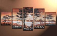 african dancing pictures - Home Decor Oil Painting decoration art Sun African hand painted Tribe Dance Abstract Landscape Wall art picture modern art wall
