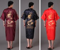 Wholesale Chinese long Men s Satin Silk home Robe Embroidery male Kimono Bath Dressing Gown Dragon nightgowns pyjamas sleepwear