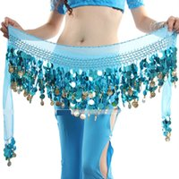 belly dancer scarf - Women Belly Dancer Costume Hip Scarf Wrap Sequins Belt Coin Chiffon Skirt
