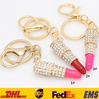 beauty gift bags - New Amazing Rhinestone Crystal Lipstick Keyring Charm Pendant Bag Purse Car Key Chain Gifts Makeup Beauty Accessories ZJ L08