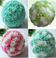 Wholesale Hot Sale cm inch Tiffany Blue Flower Ball Centerpieces Silk Rose Decorative Hanging Flower Ball Wedding Kissing Ball Party bouquet