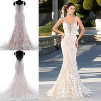 Cheap Real Images Full Lace Mermaid Wedding Dresses 2017 With Beading Appliques V Neck Court Train Sexy Backless Garden Bridal Wedding Gowns Cheap