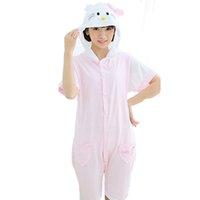 Wholesale White Kitty Cat Unisex Adult Short Sleeve Cotton Hooded Pajamas Adults Cosplay Cartoon Animal Onesies Sleepwear Summer Homewear