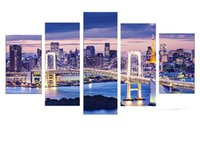 bay life - 5Pcs Tokyo Bay Wallpaper Painted Painting Oil Painting On Canvas Painting Canvas Wall Art Picture Unframed Painting Home Decor