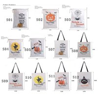 Wholesale 2016 Latest Hot Sale styles Halloween Large Canvas bags cotton Drawstring Bag With Pumpkin devil spider Christmas Gifts Sack Bags