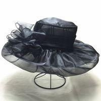 Wholesale UV Double Layer Mesh Church Hat Elegant Wide Brim Wedding Sea Beach Sun Hat