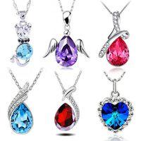 austrian crystal swarovski - 6Styles Hot Sale Woman s Necklaces Austrian Crystal Jewelry Rhinestone Pendants Make With Swarovski Elements white gold plated chain BY