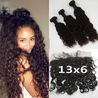 Wholesale 13x6 Lace Frontal Closure With Brazilian Water Wave Hair Bundles Unprocessed Human Hair Ear To Ear Full Frontal Lace Closure G EASY