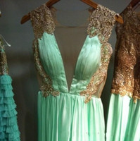 accent siding - V Neck Gold Lace Mint Green Prom Dresses Accented Sleeves Backless Chiffon Sexy Couture Maxi Long Floor Length Special Occasion Evening Wear