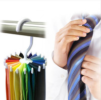 Wholesale Adjustable Hooks Rotating Belt Scarf Rack Organizer Men Neck Tie Hanger Holds Men Tie Storage holders DHL