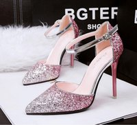 Wholesale 2016 female elegant fashion sexy cross straps pump beautiful pink stilettos pointed toe Size34 women dress shoes