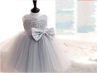 Wholesale 2016 NF014 New Arrival In Stock Cheap Discount Sequin Bow Sleeveless Elegant White Ball Gown Children Cute Wedding Evening Flower Girl Gowns