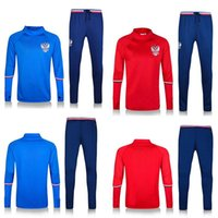 Wholesale 2016 high quality Arrived Polyster Qty Active soccer Tracksuits Men s long sleeve Russia Blue Red Long Sleeve Tracksuits sets EMS or DHL fr