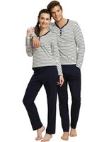 Wholesale Women and Man High Quality Couple Lovers Winter Casual Striped Pajamas Sleepwear Piece Pants Set