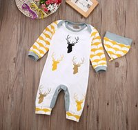 Cheap Fashion Baby Boys Romper Christmas Toddler Reindeer Printed Cotton Jumpsuit with Hat Casual Boys Clothes bh2577