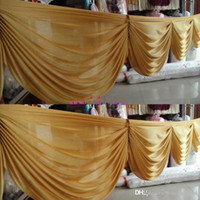 Wholesale 6 M long Gold ice silk curtain swags for wedding backdrops wedding party event decoration supplies