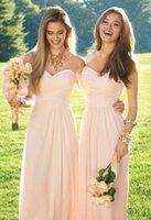 best custom made shirts - Best Country Long Peach Bridemaid Dresses Chiffon Cheap Vintage Blush Pink Floor Length Maid of Honor Dress Custom Made