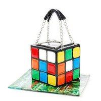 Wholesale New Arrive Women s Shoulder Bag Colorful Magic Rubik s Cube Bag PU Handbag HB88