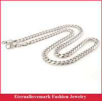 Wholesale 23 inch stainless steel cuban link chain necklace fashion mens jewelry for biker