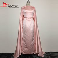 beaded evening shawls - 2016 Arabic Evening Prom Dresses Real Picture High Quality Satin Pink Amazing Luxury Vintage Dubai Pearls Party Gown With Shawl Liyatt
