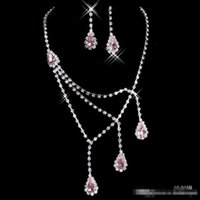 anchor jewelry necklace - Shinning Rhinestone Pink Lady Necklace Earring Sets Bridal Accessories Jewelry for Wedding Party Evening Prom In Stock Cheap B