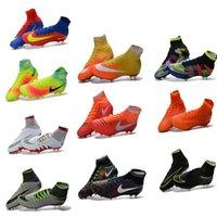 Wholesale High Top Football Shoes FG Outdoor Soccer Shoes Hypervenom Phantom II Football Boots Best Quality Football Cleats men Sports Shoe