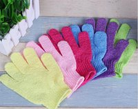 Wholesale 1000pcs Exfoliating Bath Glove Five fingers Bath Gloves bathroom accessories nylon bath gloves Bathing supplies bath products A026