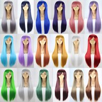 Wholesale cm NEW Color Anime Wigs Fashion Women Long Straight Black Synthetic Hair Wig Cosplay High Temperature Soft Hair High Quality