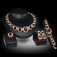 Wholesale Hot Sale k gold plated crystal Ruby Emerald Gem Pendant necklace earrings bracelet Ring women Wedding bridal jewelry sets