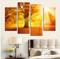 abstract paintng - 4 Plane Sunset Golden Forest Picture Paintng Wall Art Canvas Oil Painting For Home Decoration